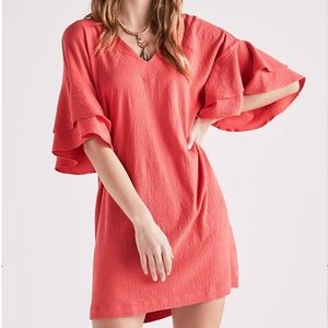 NWT Lucky Brand Ruffle Sleeve Knit Mini in Coral